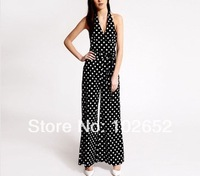 Hot summer women Jumpsuits & Playsuits ,Sexy thin dots deep V-neck halter bow tie sleeveless chiffon piece pants big size XXL