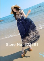 2014 new arrival chiffon sweet bohemian fashion women dress print sleeveless ladies dress