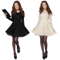 Details about Sexy Womens Long Sleeve Crew Neck Lace Slim Cocktail Party Mini Dress