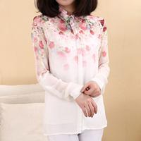 2014 Spring Tops Fashion Women's Fancy Flower Printing Turn-down Collar Long-sleeve Chiffon Loose Blouse White Shirts(S,M,L)