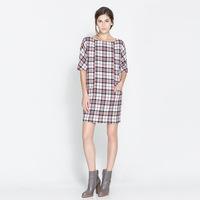New  2014 brand designer women  plaid short-sleeved shift women causal party dresses lady girl bandage dress