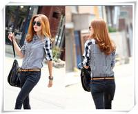 Free Shipping 2014 New Spring Autumn Women's Asymmetrical Long-Sleeve Plaid Shirt Female Patchwork Cotton Blouse Shirts
