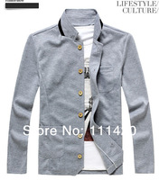 2014 Fashion Stand Collar Men's Jacket Outdoor Jackets Chinese Kungfu Style Man Casual Coats Blue Black Gray 4 Colors