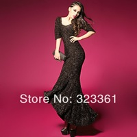 2014 Spring new arrival Fiber blends sexy women slim half sleeve mermaid dress