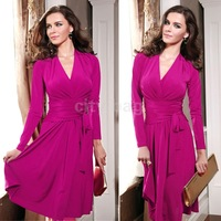 New Fashion Women Evening Party Dresses Elegant Long Sleeve V-neck Pleats Knee Length Dress