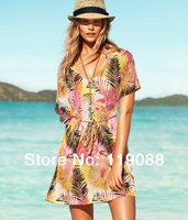 2014 Hot sale/New Victoria pattern beach dress , outside shirt beach wear