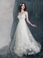 2014 petals lace sweet this wedding dress beige feather wedding dress formal dress