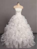 2014 fashion tube top type straps bride pearl sweet plus size Pearl bubble skirt wedding dress