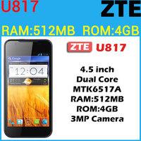 "cheap Original ZTE U817 Smart phone 4.5"" Screen Dual core 1.0GHz Android 4.0 GPS 3MP Camera"
