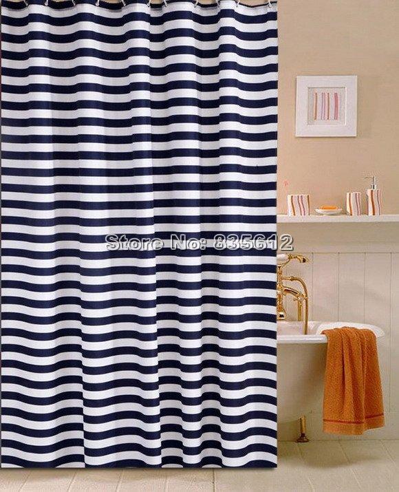 Croydex - Cortina de ducha de tela, a rayas, color marfil