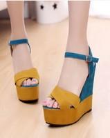 Free shipping 2014 Female Sandals Elegant  Women's Open Toe Platform Ultra High Heels Wedges shoes Women's