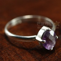 Free Shipping Brief circle 925 silver pinky ring natural amethyst ring