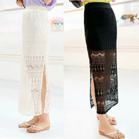 Free shipping quality long skirt fairy skirt perspective rendering package hip skirt lace knitted mesh skirts