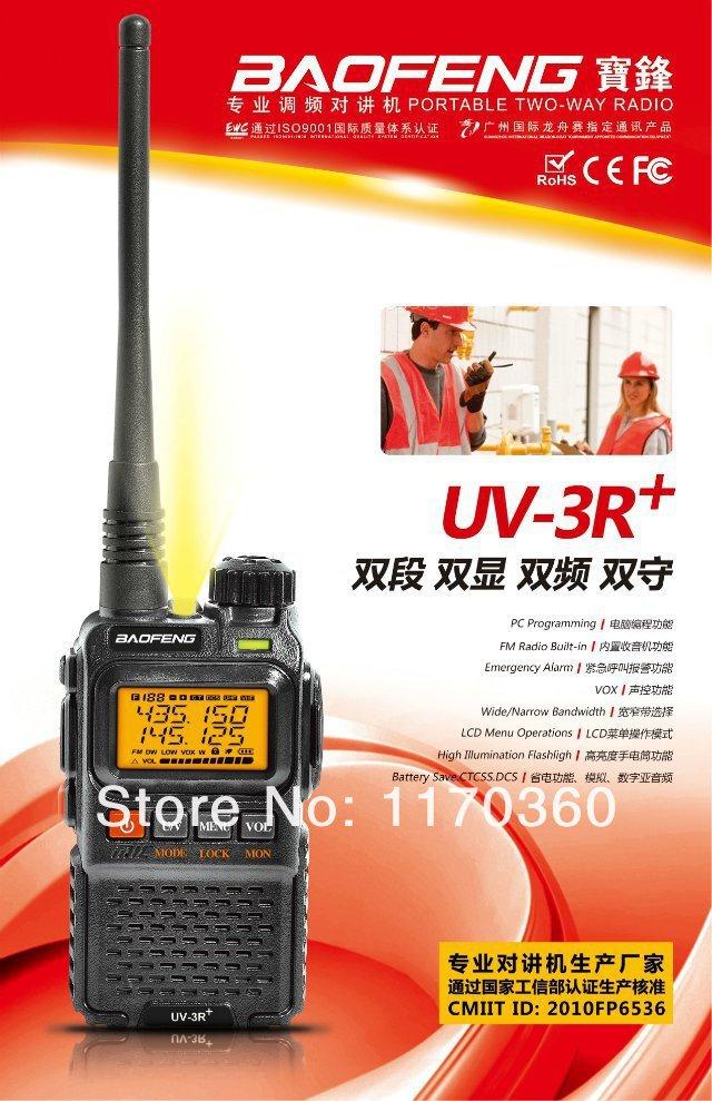 DHL freeshipping+New BaoFeng UV-3R plus Portable Dual Band Transceiver FM Ham Two Way Radio Transmitter cb Radio Station UV3R+(China (Mainland))