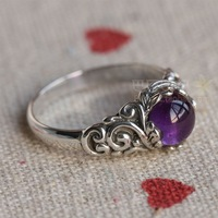 Free Shipping Natural amethyst ring circle finger ring 925 silver carved gift