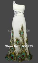 Angel- Fashions Sexy de un hombro Peacock Partido delgado vestido de dama de verde(China (Mainland))