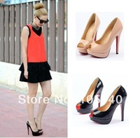 2014 ladies sandals for women summer red sole shoes woman platform peep toe pumps fashion party sexy thin high heels