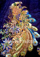 Fashion Diy gauze peacock fabric mesh embroidery patch big applique for cheongsam one-piece dress decoration 1 pcs