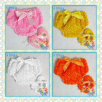 rosette Flower baby underwear fancy petti rosette bloomer and crib shoes set 60 sets/lot  free shipping