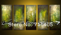 Framed Hand Painted 5 panels green abstract group oil painting canvas art home decor wall art Free shipping A-340