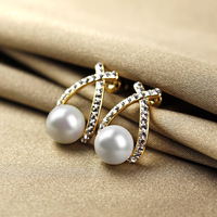 Classic fashion brief pearl grey stud earring earrings accessories