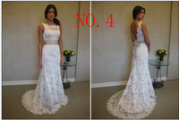 Hot Sale ! Cheap Price ! Good Quality ! 2014 New Free Shipping Lace Sheath White / Ivory Wedding Dresses OW 33042