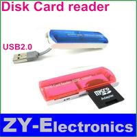 2pc/lot Freeshipping Small craft card reader USB high-speed 2 small spacecraft 4 in1 card reader reading SDMSTFM2 card