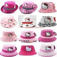girls hello kitty sunhat 100% cotton girls bucket hat baby beret hat girls sun cap cartoon fishing hat-for 3-6 girls 10 color