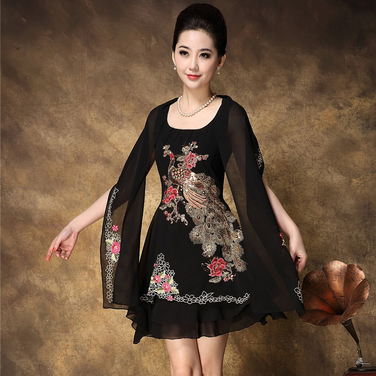 2014 Summer cape collar embroidery rich chiffon one-piece dress plus size fashion party A183(China (Mainland))