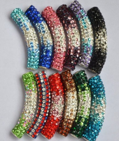 Lowest Price!free shipping 50*10mm Clay long bending tube crystal shamballa beads DIY mixed 10 color in ramdom for bracelet(China (Mainland))