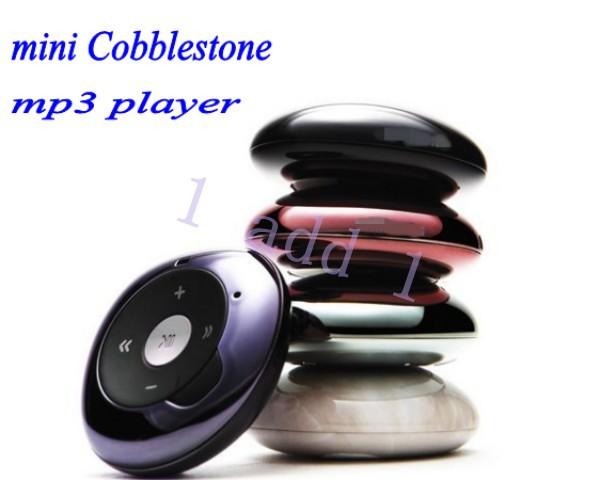 1pc/lot Real 4GB Mini cute Cobblestone Stone MP3 Music Player+necklace earphone Free Shipping(China (Mainland))