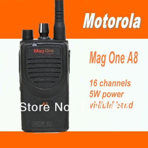 DHL FreeShipping+2sets/lot best price vhf or uhf 5Watt 16 channels handheld ham radio small walk talk mag one a8 fm transceiver(China (Mainland))