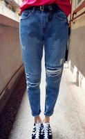 Knee hole slim light color denim harem women jeans small harem women jeans female ankle length trousers 0827