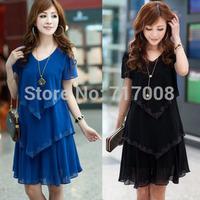 new year dress plus size clothing summer dress chiffon long dress short-sleeve blue ladies dress vestido longo preto 4xl 5xl