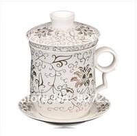Free shipping bone china teapot porcelain tea set individual tea pot blue and white floral design