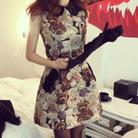Spring women one-piece Evening Dresses peter pan collar woolen bear pattern tank Evening Dresses 8556