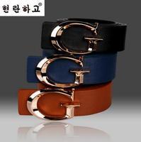 Free Shipping Fashion mens belt Letter G leather belt Korean smooth buckle belt A140