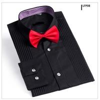 Free shipping 2014 Brand Men tuxedo shirt  formal dress banquet shirt Slim fit High quality big size black color LFP08