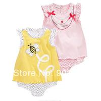 Free Shipping Children Wear Girl's short sleeve bee embroidery polka dot skirt bodysuit