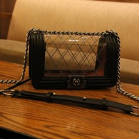 2014 fashion small sachet plaid women's handbag chain bag transparent jelly bag messenger bags
