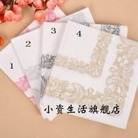 NP028 3 packs 60pcs Wedding Elegant Flourish Napkin Paper 100% Virgin Wood Tissue for Party Wedding Decoration