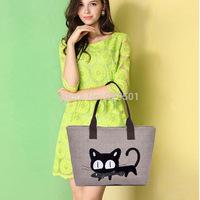 women handbag 2014 New fashion Embroidery cat canvas bag women tote bag leisure  shopping bag  Wholesale free shipping B171