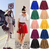 New Fashion Women's Chiffon Pleated Retro Midi Short Skirt Elastic Waist 10Colors Free shipping 14449