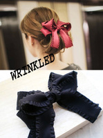 12pcs/lot Large cascading ribbon bow hair clip barrette feminine simple color long tail hair bow F80762 FreeShipping 5 colors