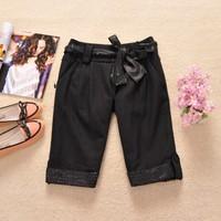Cabbare 2013 price of the autumn and winter women woolen boot cut jeans knee-length pants capris belt e43