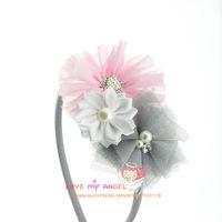 2014 New Arrival princess hair band Pearl Rhinestone chiffon flower satin tulle flower headbands Kids hair Accessories 12pcs/lot