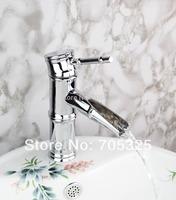 Contemporary Single Handle Ceramic Deck  Mounted Brass Stream Chrome  Mixer Tap Bathroom Faucet  AD-8640-1