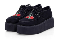 2014 Spring New women Creepers Shoes Cherry Flats Shoes Shoelace Platform Punk Rock Shoes