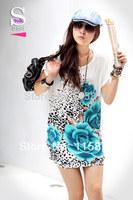 Fashion Women's Flower Print T-shirt Short Sleeve Sexy Silk Cotton Spring Summer Autumn T shirt For Women 40 Color Free Shipping