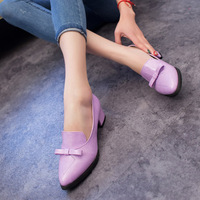 Spring and autumn shallow mouth flat-bottomed shoes small fresh shoes sweet bow work low-heeled young girl shoes size35-39